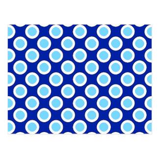 Pontos circundados retros, azuis cobaltos e branco cartão postal