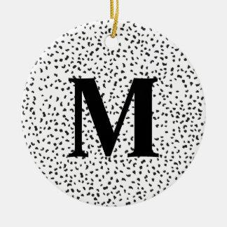 Pontos Dalmatian preto e branco modernos Ornamento De Cerâmica Redondo