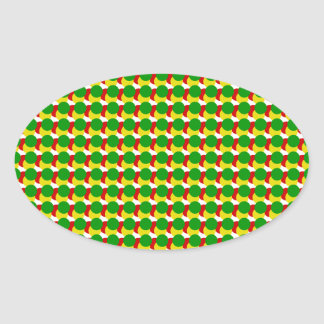Pontos de Rasta no branco Adesivos Em Formato Oval