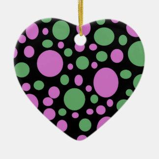 pontos verdes cor-de-rosa do pokka ornamento de cerâmica coração