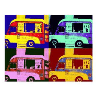 Pop art de Europa do caminhão do sorvete do vintag Cartões Postais
