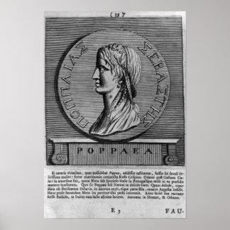 Poppaea Sabina, gravando após um romano Poster