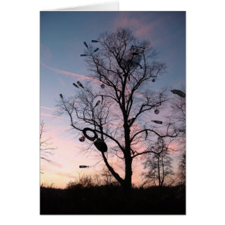 Por do sol da árvore dos desperdícios cartão comemorativo