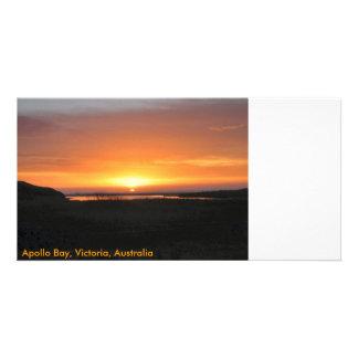 Por do sol da baía de Apollo Cartão Com Foto