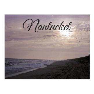 Por do sol de Cape Cod, Nantucket, cartão de