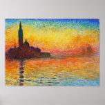 Por do sol de Claude Monet em Veneza Posters