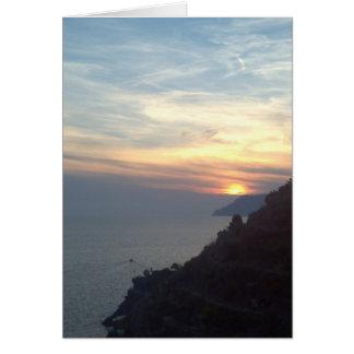 Por do sol de Como do lago Cartão De Nota