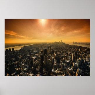 Por do sol de New York da parte superior Poster