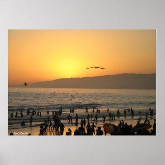Por do sol de Santa Monica Posteres