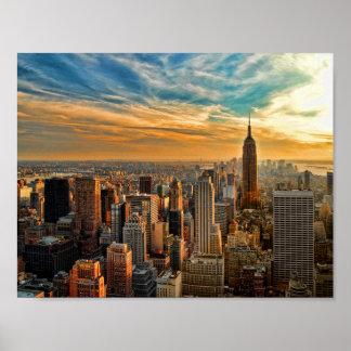 Por do sol do estado do império na Nova Iorque Pôster