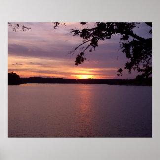Por do sol do lago Foto-ish da paisagem de Cricket Pôsteres