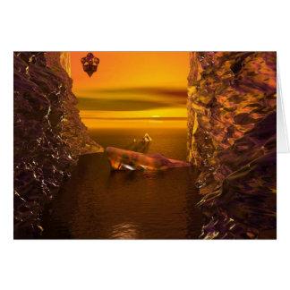 Por do sol final - cartão original da arte da
