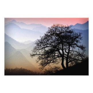 Por do sol fumarento da montanha do Parkway azul Impressão De Foto