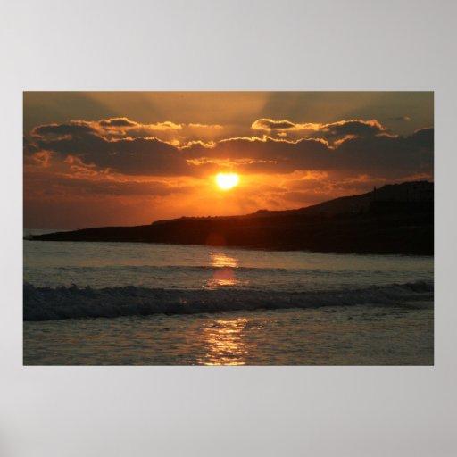 Por do sol na praia da Dinamarca Luz do Praia, o A Posters