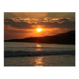 Por do sol na praia da Dinamarca Luz do Praia, o Cartão Postal