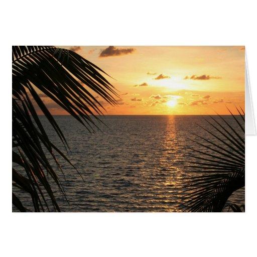 Por do sol nas chaves de Florida Cartão