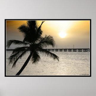 Por do sol nas chaves de Florida Pôsteres