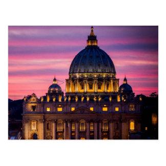 Por do sol no cartão da Cidade do Vaticano