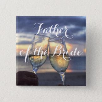 Por do sol no pai da praia do botão do casamento bóton quadrado 5.08cm