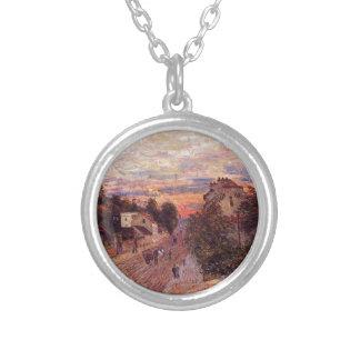 Por do sol no porto margoso por Alfred Sisley Colar Banhado A Prata