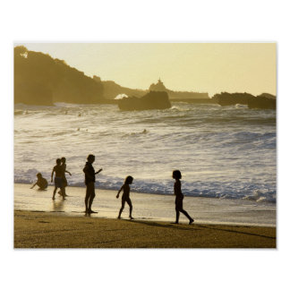 Por do sol no poster francês da paisagem da praia