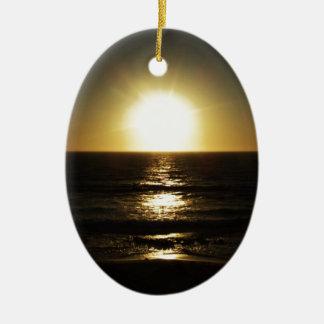 Por do sol ornamento de cerâmica oval