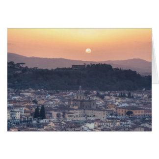 Por do sol sobre Florença Italia Cartões