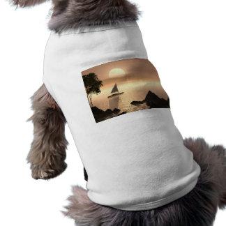 POR DO SOL TROPICAL do NASCER DO SOL do VELEIRO do Camiseta