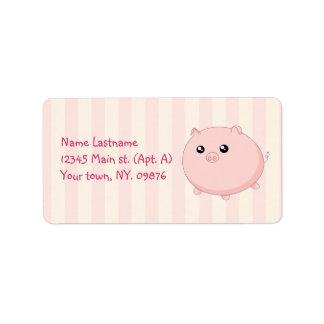 Porco cor-de-rosa carnudo bonito de Kawaii Etiqueta De Endereço