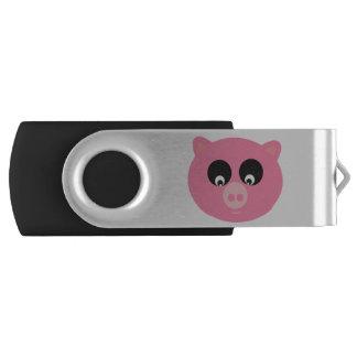 Porco dos desenhos animados, 8 GB, preto Pen Drive Giratório
