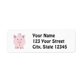 Porco surpreendido bonito etiqueta endereço de retorno