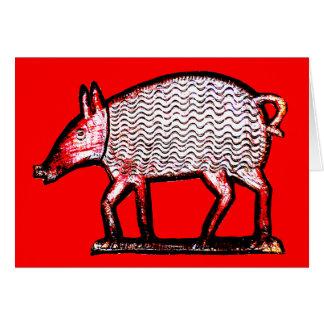 Porco vermelho & preto - primitivo/design da arte cartão comemorativo