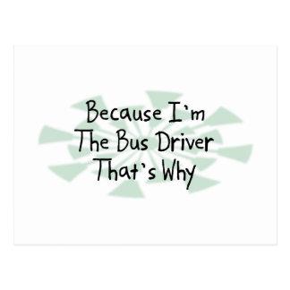 Porque eu sou o condutor de autocarro cartão postal