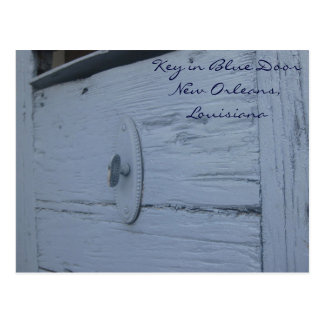 Porta azul com cartão chave cartão postal