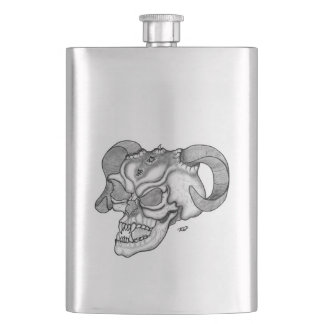 Porta Bebida Design preto e branco da cabeça do diabo do crânio