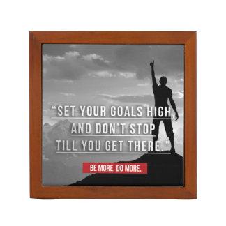 Porta-caneta Ajuste seus objetivos altos - inspirador