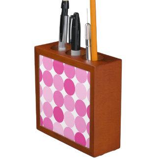 Porta-caneta Bolinhas cor-de-rosa elegantes femininos bonitos