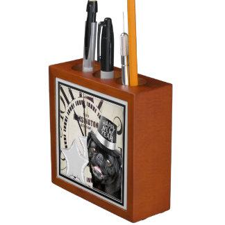 Porta-caneta Do pug do cão o ano novo do organizador da mesa