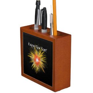Porta-caneta Fogo-de-artifício do feliz ano novo