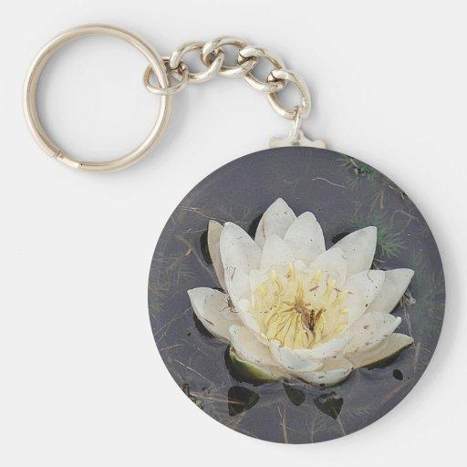 Porta-chaves flor branqueada de rosa de lago chaveiro