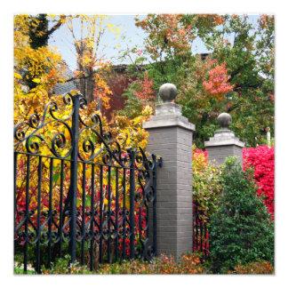 Porta colorida com folhas e quadrado das árvores impressão de foto