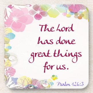 """Porta-copo 126:3 do salmo """"o senhor fez grandes coisas… """""""
