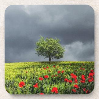 Porta-copo Cenário bonito da natureza da árvore do campo de