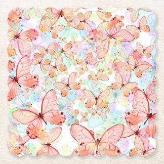Porta-copo De Papel As borboletas do primavera Scalloped a porta copos