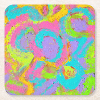 Porta-copo De Papel Quadrado Abstrato-Mão de néon Brushstrokes pintados