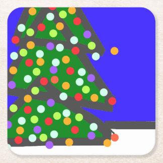 Porta-copo De Papel Quadrado Árvore de Natal com os pontos do bulbo no azul.
