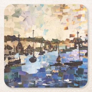 Porta-copo De Papel Quadrado Barcos na porta copos de papel da colagem do Lago