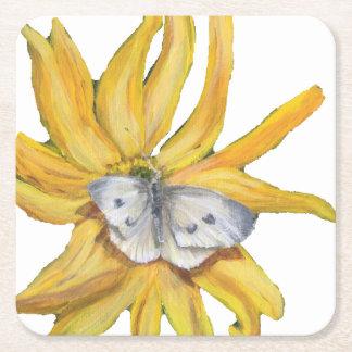 Porta-copo De Papel Quadrado borboleta branca na flor amarela