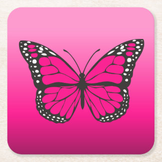 Porta-copo De Papel Quadrado Borboleta cor-de-rosa vibrante de Ombre