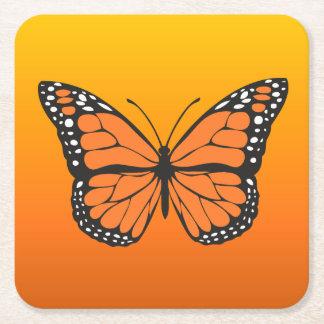 Porta-copo De Papel Quadrado Borboleta de monarca alaranjada vibrante de Ombre